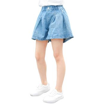 Dziewczęce letnie dżinsy stałe dzieci krótkie dżinsy dziewczyna Casual Style dzieci spódnica dżinsy dla dziewczynek nastoletnie ubrania dla dzieci dżinsy tanie i dobre opinie AIXINGHAO Na co dzień Pasuje prawda na wymiar weź swój normalny rozmiar 0285185 Elastyczny pas Dziewczyny REGULAR Medium