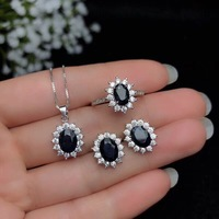 Origin of China, black, natural sapphire jewelry suit, rings, Necklace earrings, classic style