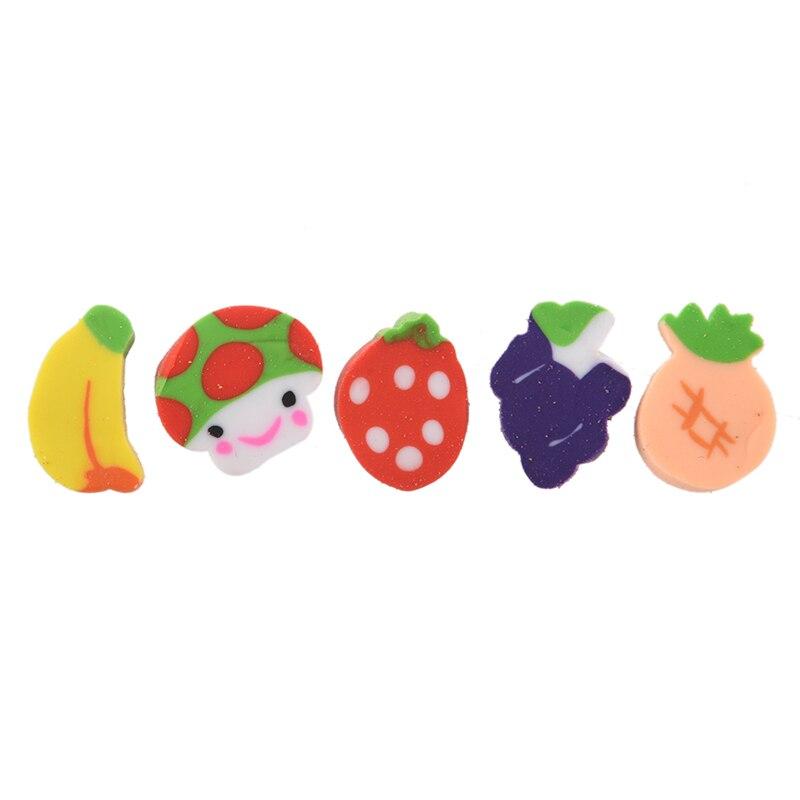 50 X Mini Fruit Shapes Colorful Erasers