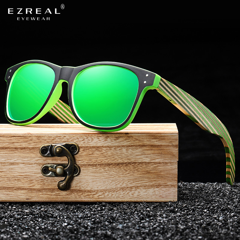 EZREAL Polarized Sunglasses for Boys and Girls with Recycled Frames and Color Wood Temples S5088