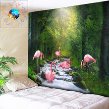 Chic Forest Tapestry Flamingo Wall Hanging Tapestry Wall Boho Decor Wall Tapestry Psychedelic Hippie Mandala Tapestries Gobelin home decor flamingo wall tapestry