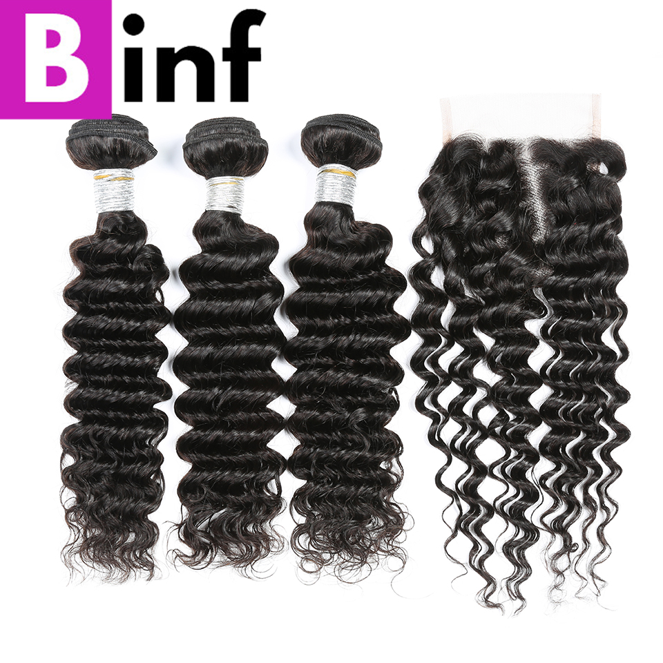 BINF Hair Indian Non Remy Hair Deep Wave 3 Bundles With Closure Nature Black Color 100% Human Hair Weave Bundles Free Shipping