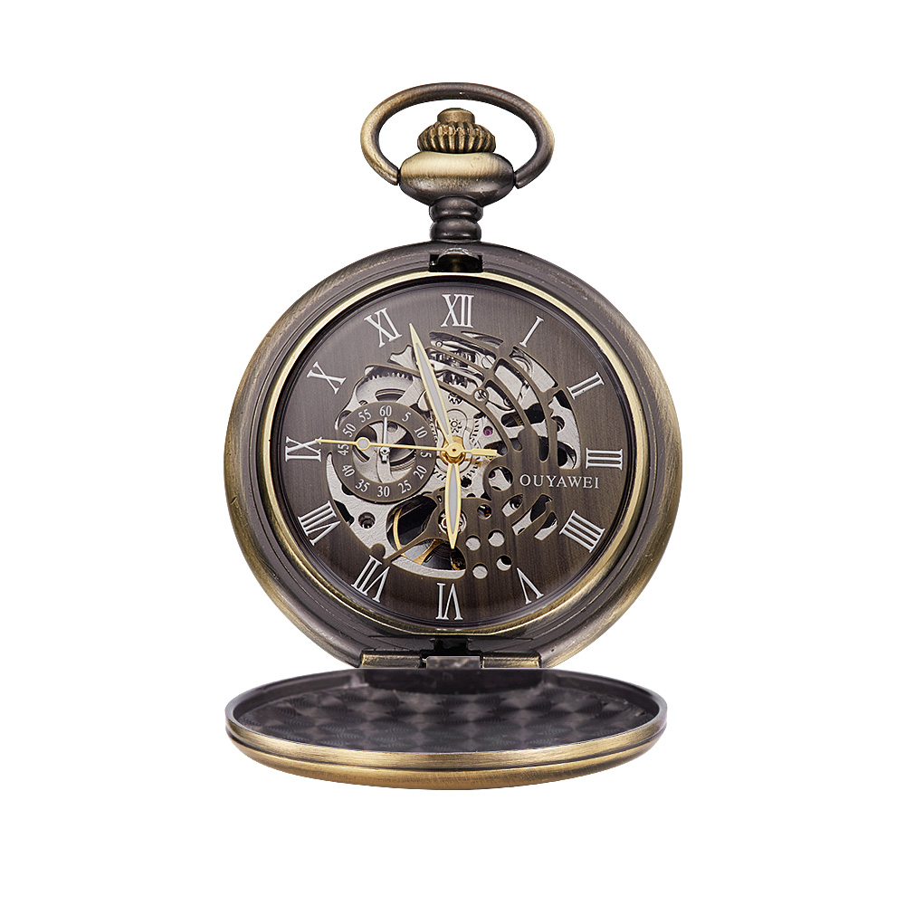 Steampunk Mechanical Pocket Watch Half Hunter Antiqued Bronze Tone Hollow Case OYW-P01 Gift For Christmas