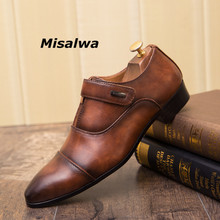 Misalwa Mens Dress Shoes 2019 Leather Concise Handmade Designer Men Zipper Hook Look Business Gentleman Wedding Footwear