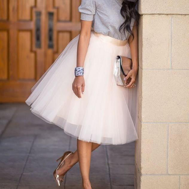 Women Mesh Skirt Summer Fashion Solid Sweet knee-length Skirt Lady Feminino Bubble Princess Skirts Robe Femme
