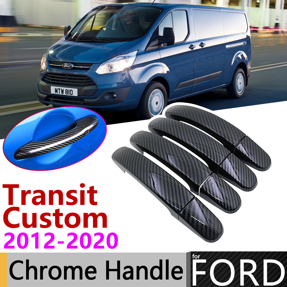 Black Carbon Fiber Door Handle Cover For Ford Transit Custom 2012~2019 2016 2017 2018 Car Accessories Stickers Trim Set Chrome