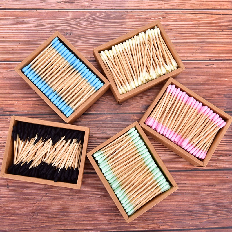 1000Pcs Color Mix Bamboo Cotton Double Head Adults Makeup Cotton Swab Microbrush Wood Sticks Nose Ears Cleaning Health Tools
