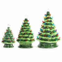 DIY Christmas Tree Lights Decorated Ceramic Christmas Tree Light Tabletop Christmas for Home Festival DIY Desk Decoration Hot