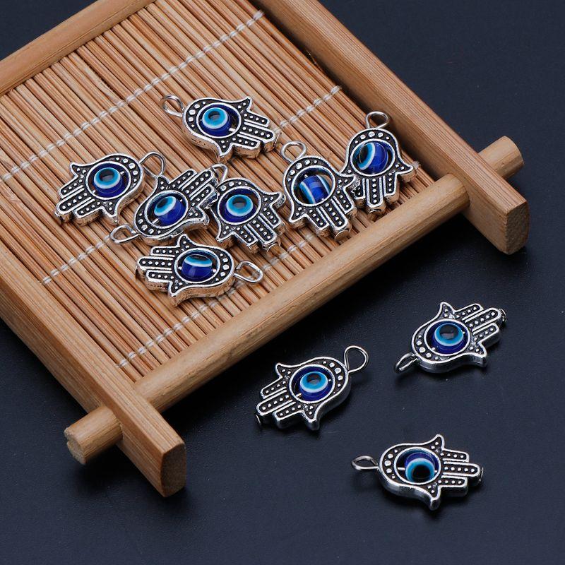 10Pcs Hamsa Evil Eye Pendant Beads Snake Chain Charm for Bracelet Jewelry Making