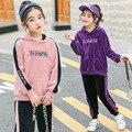 Бархатные комплекты одежды для девочек на весну и зиму  костюм на новый год для девочек  футболка с капюшоном + штаны  комплект из 2 предметов ...