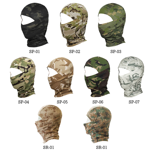 Military Tactical Balaclava Cap CP Camouflage Face Cover Breathable Moto Motorcycle Motocross Cycling Army Biker Head Hat Men 1