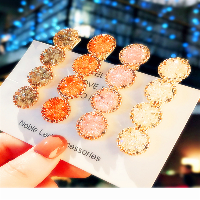Fashion Korea Crystal Rhinestones Hair Clips Women Hairpins Geometric Round Hairpin Hairgrip Girls Barrette Hair Accessories