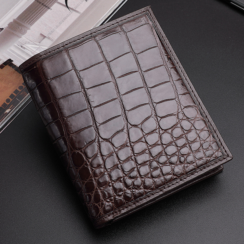 Authentic Real Crocodile Belly Skin Men's Short Purse Small Card Holders Genuine Exotic Alligator Leather Male Bifold Wallet