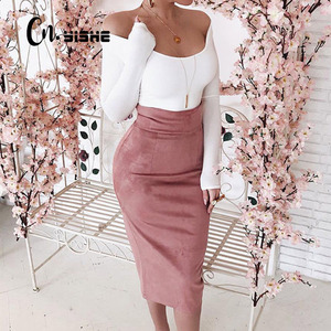CNYISHE Midi High Waist Suede Pencil Skirts Women 2020 Autumn Fashion Bodycon Sexy Slim Women Skirt Regular Office Lady Bottoms