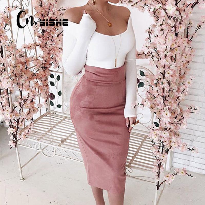 CNYISHE Midi High Waist Suede Pencil Skirts Women 2021 Autumn Fashion Bodycon Sexy Slim Women Skirt Regular Office Lady Bottoms