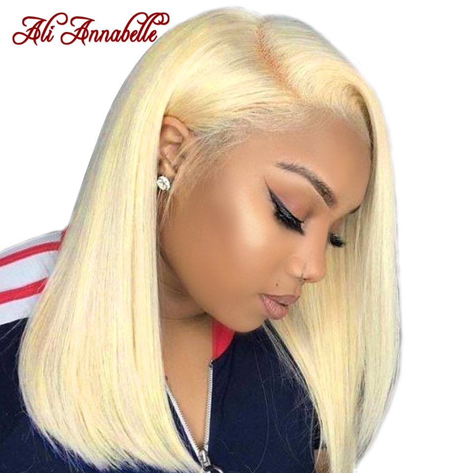 613 Straight Lace Front Human Hair Wigs with Baby Hair Pre plucked Blonde Lace Front Wig 150% Short Bob Straight Lace Front Wig image