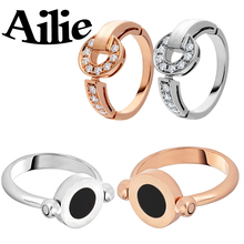 Ailie high quality Bulgaria S925 sterling silver ring fashion luxury jewelry black and white double rotating lady couple