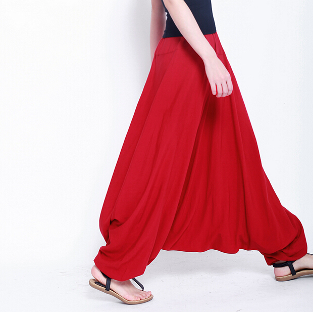 Fashion Women's Large Crotch Pants Plus Size Harem Pants M-5XL Lady Dancing Trousers Casual Loose Holiday Trousers Black Red