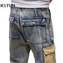 Mens Jeans Relaxed-Joggers Side-Pockets Denim Pants KSTUN Oversize-Size Stretch