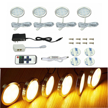 DC12V Remote Control Dimmable LED Under Cabinet Light Closet Night Lighting for Wardrobe Cupboard Kitchen Display Case Puck Lamp