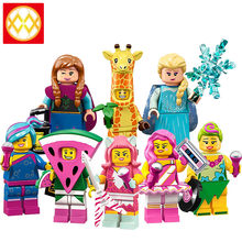 Trasporto Libero WM6067 Figura di Cartone Animato di Anna Giraffa Anguria Hula Lula Lucy Rapper Kitty Pop Star Building Blocks Set Modelli di Giocattoli(China)