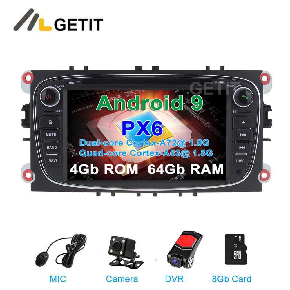 DSP 64G PX6 Android 9 Auto DVD-multimedia-Player Stereo Radio GPS für FORD Focus S-MAX Mondeo C-MAX Galaxy