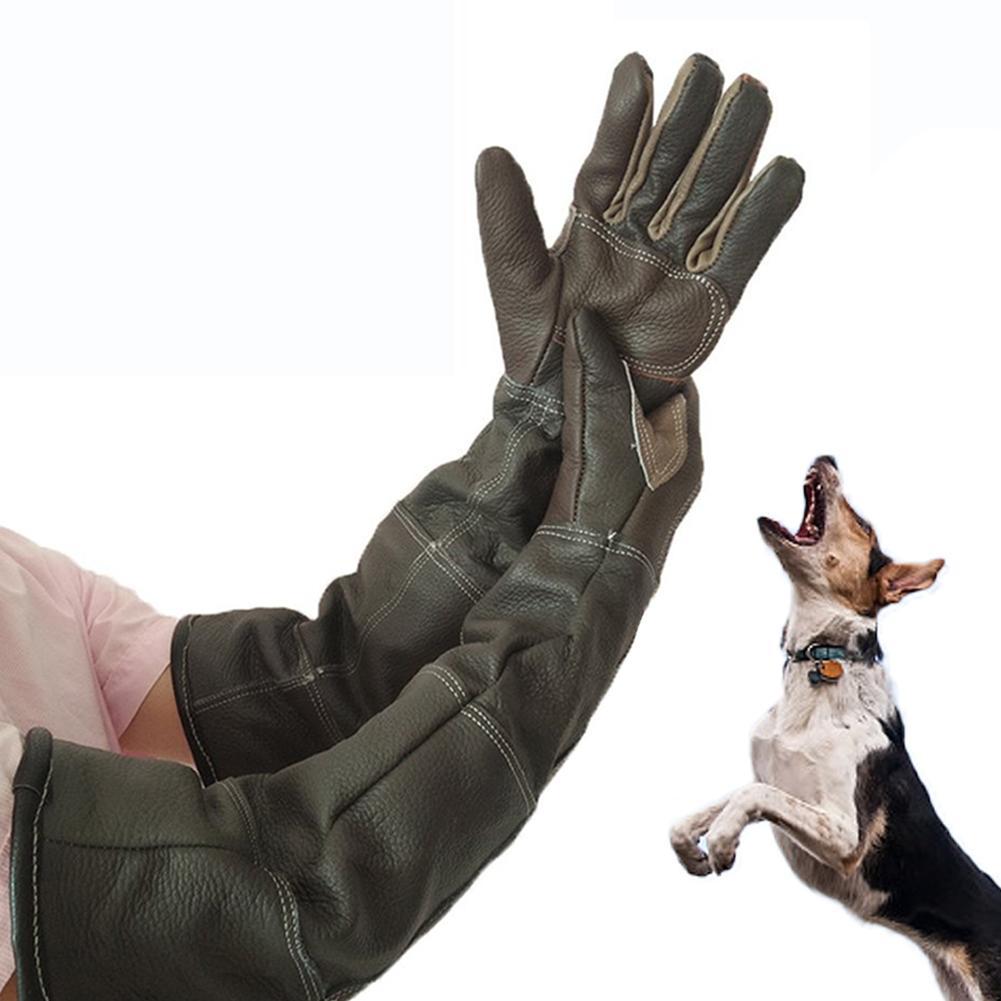 Pet Gloves Cowhide Leather Anti-grasping Anti Bite Protective Gloves Cat Dog Gardening Work Gloves Pets Training Handling Gloves