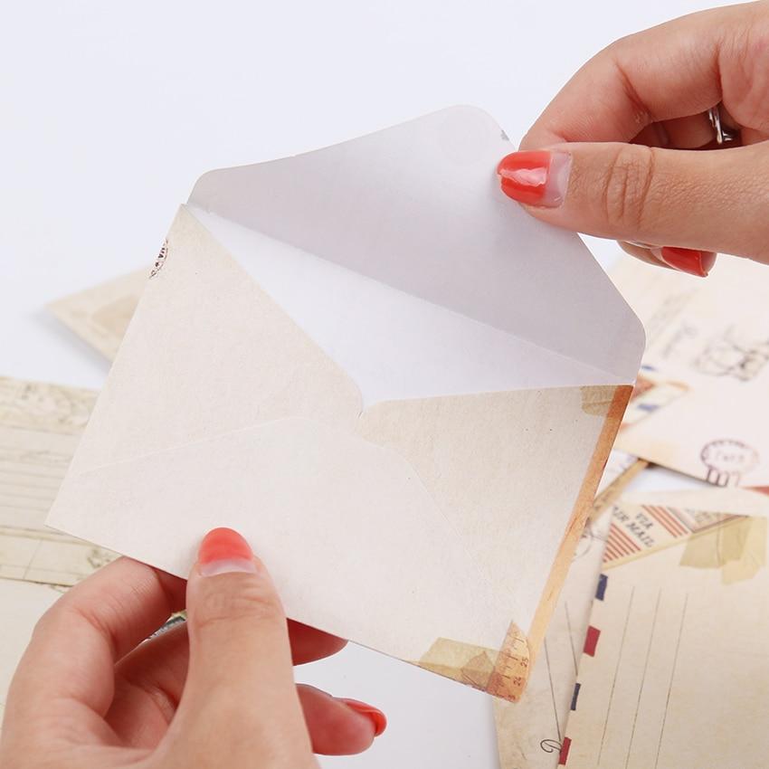 Mini Retro Vintage Kraft Paper Envelopes Cute Cartoon Kawaii Paper Korean Stationery Gift 12 PCS/set