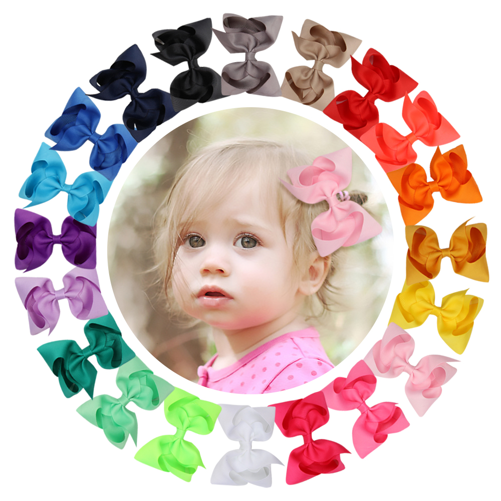 (can Pick Color)30Pcs/lot 4Inch Hair Bows Hair Clips For Girls Hair Accessories Handmade Ribbon Hair Bow With Clip For Kids