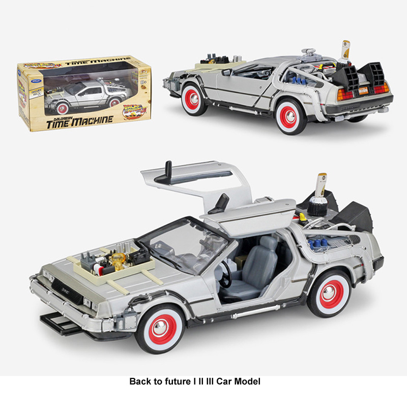 <font><b>1</b></font>:24 Diecast Alloy <font><b>Model</b></font> <font><b>Car</b></font> DMC-<font><b>12</b></font> Delorean Back To The Future Time Machine Metal Toy <font><b>Car</b></font> Part I II for Kid Toy Gift Collection image