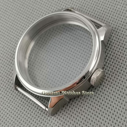 Coutent 42mm Silver Brushed Stainless steel Watch Case Fit ETA 6497,6498,Seagull ST36 Movement watch shell