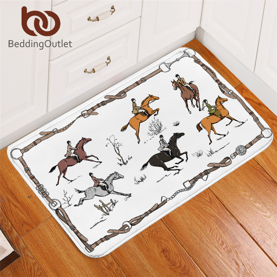 BeddingOutlet Equestrian Carpet England Tradition Horse Riding Non-slip Rug Animal Floor Mat Absorbent Sport Doormat For Bedroom
