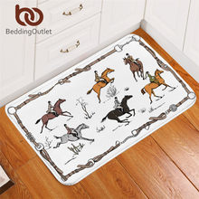 BeddingOutlet Equestrian Carpet England Tradition Horse Riding Non-slip Rug Animal Floor Mat Absorbent Sport Doormat For Bedroom(China)