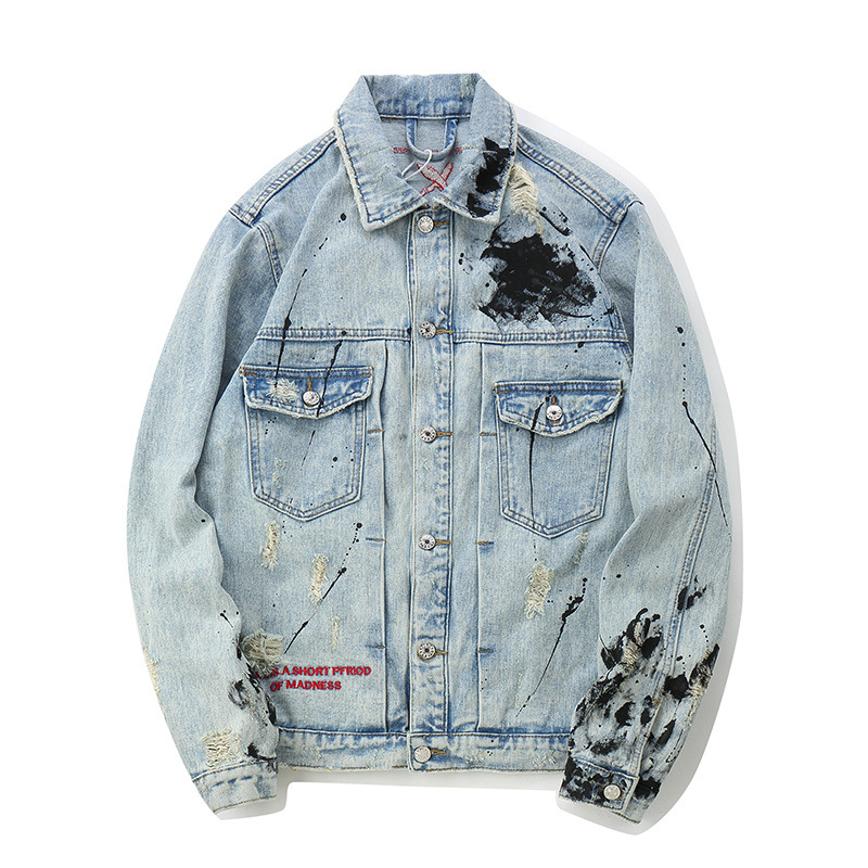 Seveyventoinha da moda masculina, jaqueta jeans pintada