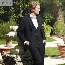 Черный однобортный Обычный Плоский смокинг жениха свадебный костюм для невесты жилет+ брюки+ Бант на заказ размер
