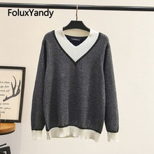 Plus size Sweater for woman V collar casual pullovers 3XL 4XL Contrast Color cardigan women KKFY4005