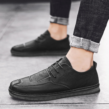 2020 Spring Leather Men Shoes British Style Male Loafers Classic Business Dress Shoes Men Breathable Flat Loafers Male HC-706