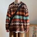 BiggOrange свитер для женщин подростков трикотаж все-матч теплый осенний весенний популярный v-образным вырезом, зимний свитер, в винтажном стил...