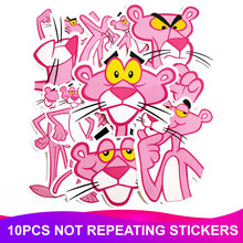 10pcs Pack Waterproof PVC Cartoon Pink Panther Stickers Skateboard Luggage Suitcase Motorcycle Laptop Stickers Kids Classic