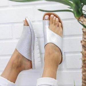 Image 4 - Delle donne DELLUNITÀ di elaborazione di Cuoio Scarpe Comode Piattaforma Suola Piatta Signore Casual Morbido Big Toe Correzione Del Piede Sandalo Shopping Suola Piatta Sandalo