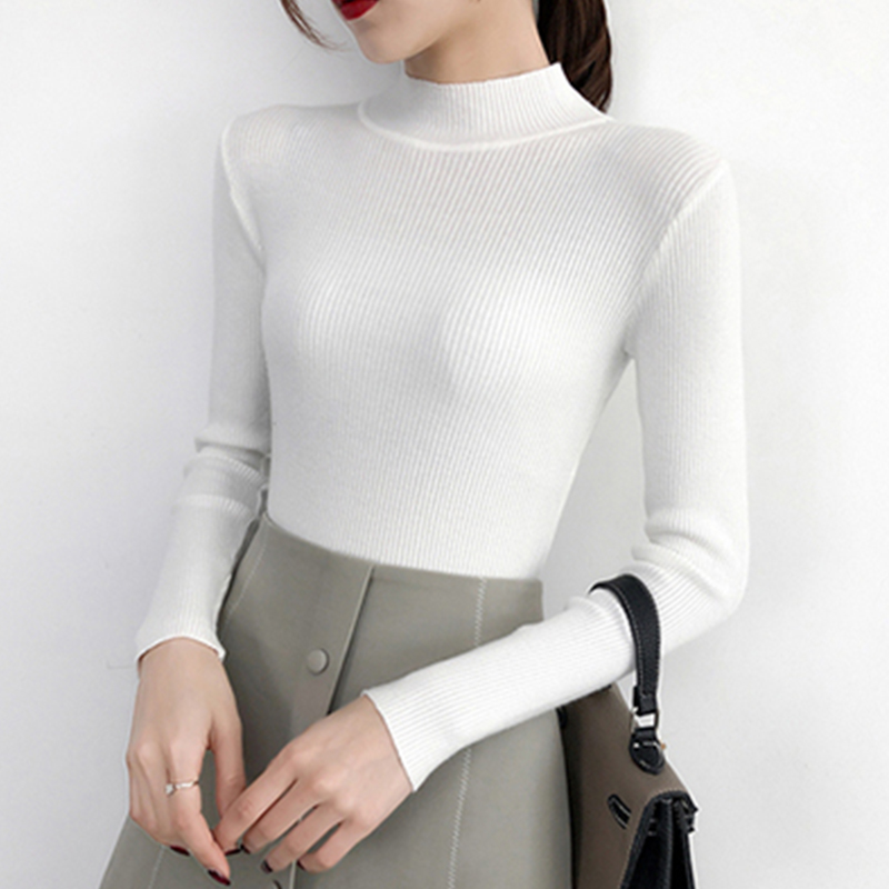 Sexy Slim Knit Sweaters Women Winter Casual Warm Pullover Long Sleeve Turtleneck Tops Fashion Female White Yellow Sweater Jumber