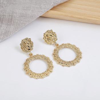 Czy Vintage para Mulheres de Ouro prata Brincos Moda Moda Moda Moderna tanie i dobre opinie Ze stopu cynku TRENDY E61135 KOLCZYKI kolczyki wiszące ROUND Metal Kobiety