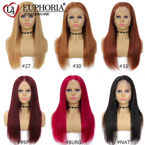 Image 5 - 13x4 Lace Front Wigs Straight Blonde 27 Human Hair Wigs Brown Short Bob Lace Frontal Wigs Peruvian Remy Hair Middle Part Euphori