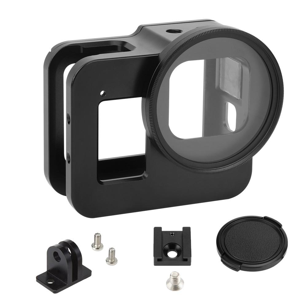 Liga de Alumínio Protetor de Metal Gaiola + Filtro Preto para ir uv para Gopro Case Quadro Lente Hero Hero8 Pro Câmera Acessórios 8