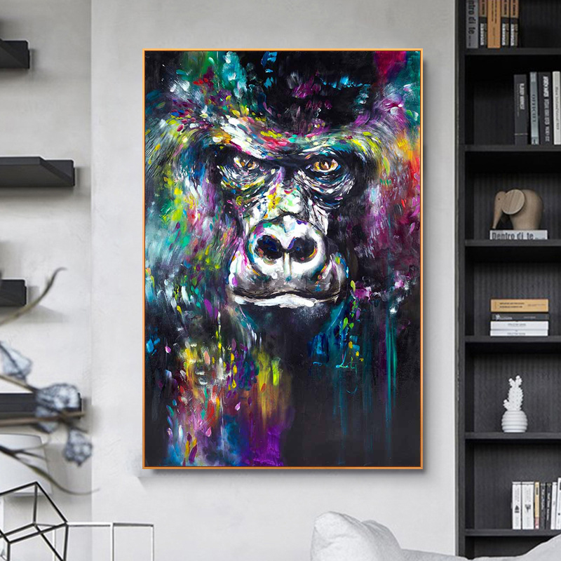 Abstract Colorful Oil Painting on Canvas Monkey Wall Art Posters and Prints Aniaml Picture for Living Room Home Design Decor(China)