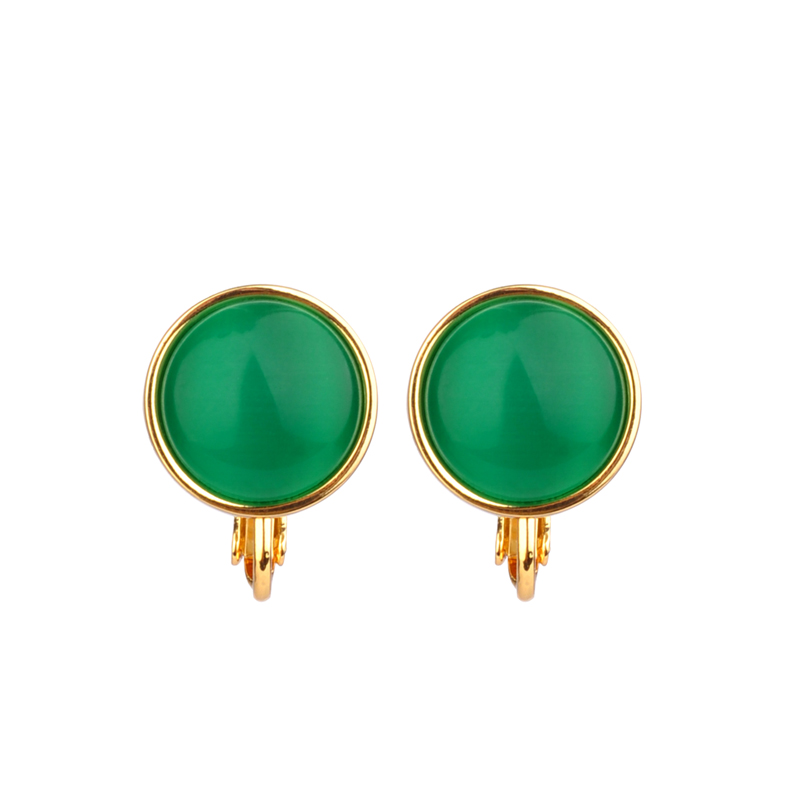 2019 New Original Design Round Green Opal Clip Earrings for Women and Girls Wedding Party Prom Graduation New Year Gift