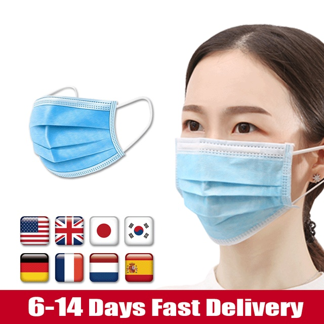 Fast Delivery Disposable Face Medical Masks Surgical 3-Ply Nonwoven 10/30/50 PCS Elastic Mouth Soft CE Flu Hygiene Face 1