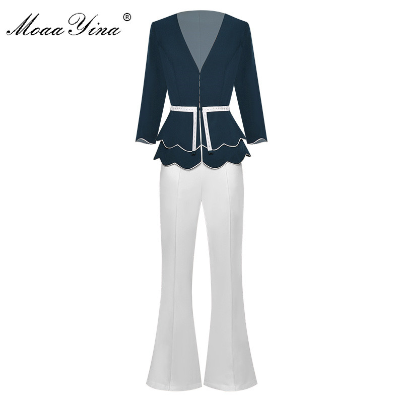 MoaaYina Fashion Designer Set Spring Summer Women V-neck Jacket Tops+Bell-bottoms Two-piece Suit