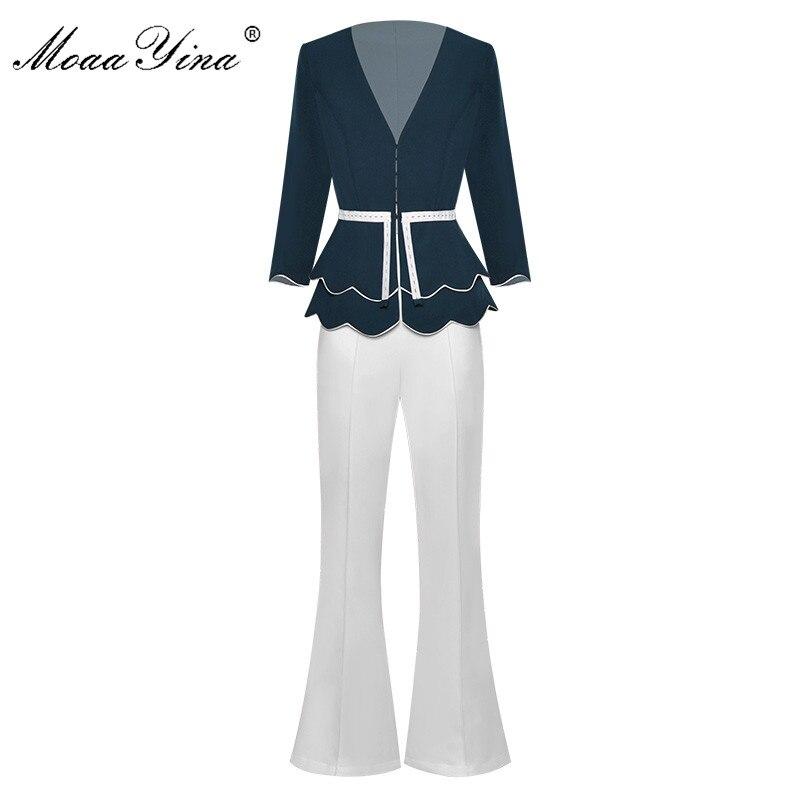 MoaaYina Fashion Designer Set Spring Summer Women V-neck Jacket Tops+Bell-bottoms Two-piece Suit