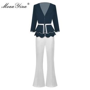 Image 1 - MoaaYina Fashion Designer Set Spring Summer Women V neck jacket Tops+Bell bottoms Two piece suit